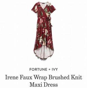 Irene Faux Wrap Brushed Knit Maxi Dress